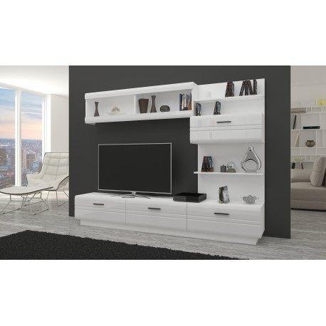 duże meble do salonu - nowoczesne i białe